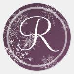 Snowflake Gems Nature/ Monogram Round Stickers