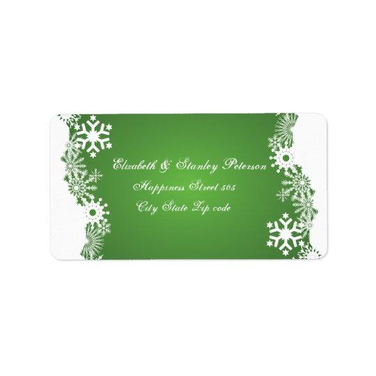 Snowflake green white winter wedding label address label