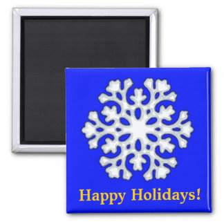 SnowFlake, Happy Holidays! Square Magnet