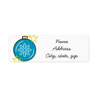Snowflake holiday ornament return address labels
