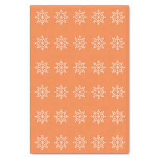 Snowflake Holiday Pattern Vibrant Orange Christmas Tissue Paper