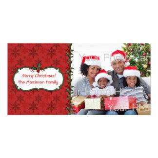 Snowflake Holly Photo Card