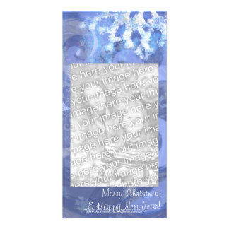 snowflake in blue 8, winter winds custom photo card