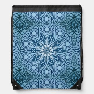 Snowflake kaleidoscope pattern drawstring bag