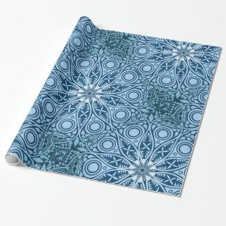 Snowflake kaleidoscope pattern wrapping paper