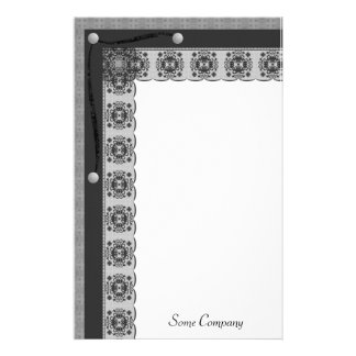 Snowflake Lace And Brads Set (Black And White) Custom Stationery