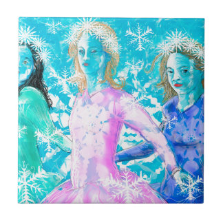 Snowflake ladies ceramic tile