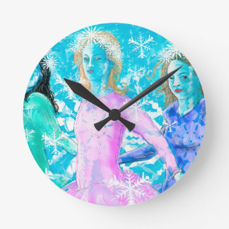 Snowflake ladies round clock