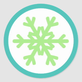 Snowflake Lime Aqua Envelope Seal Stickers