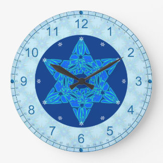 Snowflake Magen David Large Clock