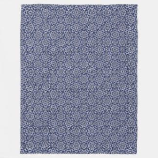 Snowflake Mandala Fleece Blanket Blue