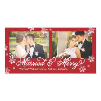 Snowflake Married and Merry 2-Photo Holiday Card Photo Cards