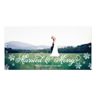 Snowflake Married and Merry Full Bleed Holiday Photo Cards