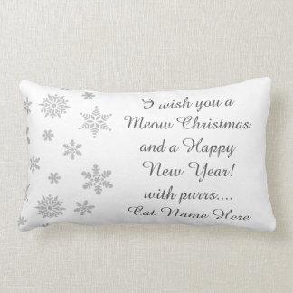 Snowflake Meow Christmas Pillow, 2 Sided Lumbar Cushion