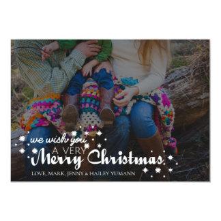 Snowflake Merry Christmas Family Photo Card