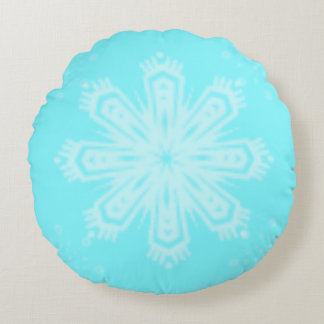 Snowflake on Bright Blue Round Cushion