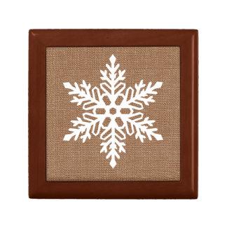 Snowflake on Burlap Country Style Christmas Gift Box