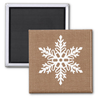 Snowflake on Burlap Country Style Christmas Magnet