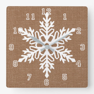 Snowflake on Burlap Country Style Christmas Square Wall Clock
