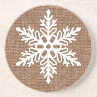 Snowflake on Burlap Rustic Christmas Coaster