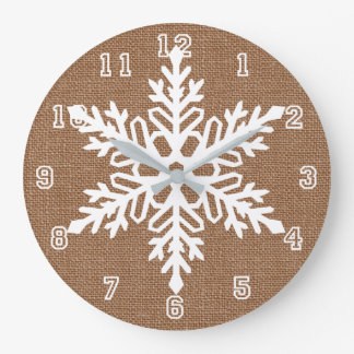 Snowflake on Burlap Rustic Christmas Large Clock