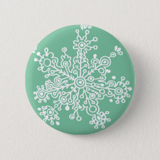 Snowflake (on Green) 6 Cm Round Badge