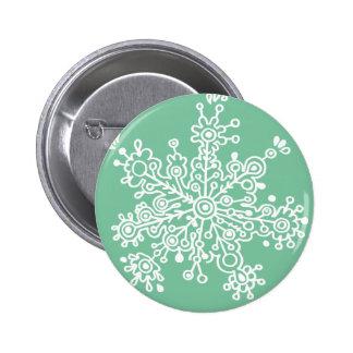 Snowflake (on Green) 6 Cm Round Badge