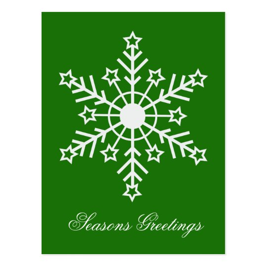 Snowflake on green postcard