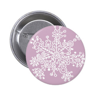 Snowflake (on Light Purple) 6 Cm Round Badge