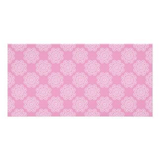 Snowflake on Pink Photo Greeting Card