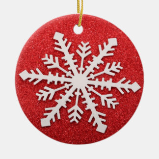 Snowflake on Red Christmas Ornament
