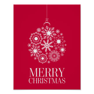 Snowflake Ornament Merry Christmas Holiday Poster
