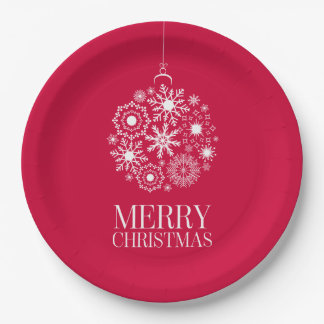 Snowflake Ornament Merry Christmas Paper Plates