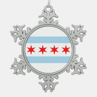 Snowflake Ornament with Chicago, Illinois Flag