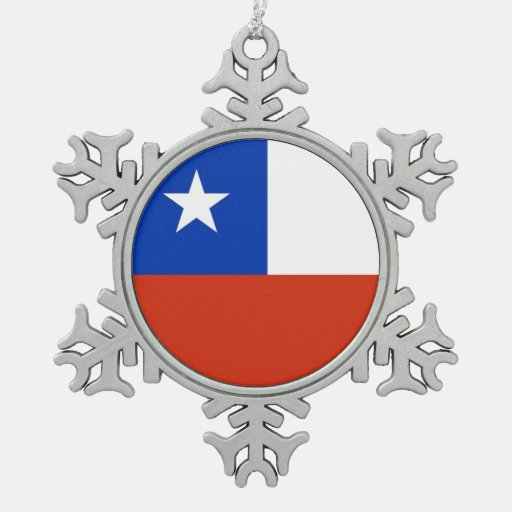 Snowflake Ornament with Chile Flag Ornaments