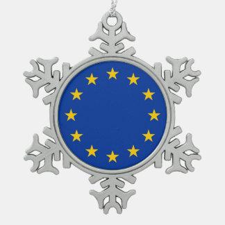 Snowflake Ornament with European Union Flag