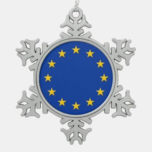Snowflake Ornament with European Union Flag Ornaments