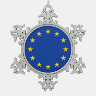 Snowflake Ornament with European Union Flag Ornaments