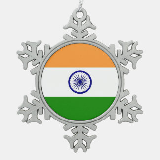 Snowflake Ornament with India Flag