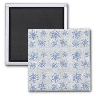Snowflake Paper 1 - Original Blue & White Square Magnet