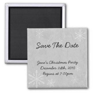 Snowflake Paper 3 - Grey B&W Square Magnet