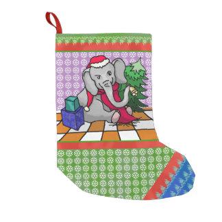 Snowflake Patchwork Cartoon Christmas Elephant Small Christmas Stocking