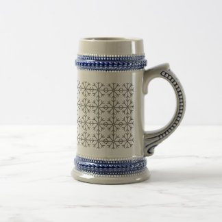 Snowflake  pattern - black and white. beer stein