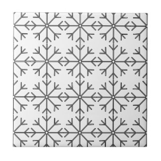 Snowflake  pattern - black and white. ceramic tile