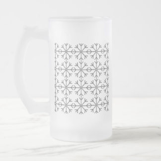 Snowflake  pattern - black and white. frosted glass beer mug