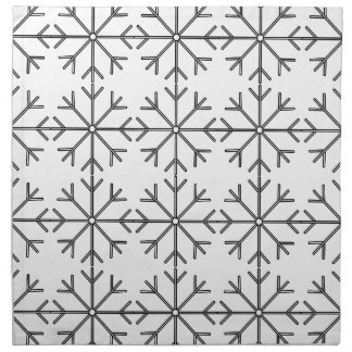 Snowflake  pattern - black and white. napkin