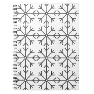 Snowflake  pattern - black and white. spiral notebook