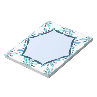 Snowflake Pattern Icy Winter Colors Notepad