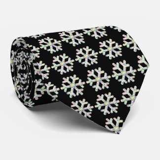 Snowflake Pattern on Black Winter Tie