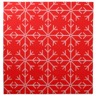 Snowflake  pattern - red and white. napkin